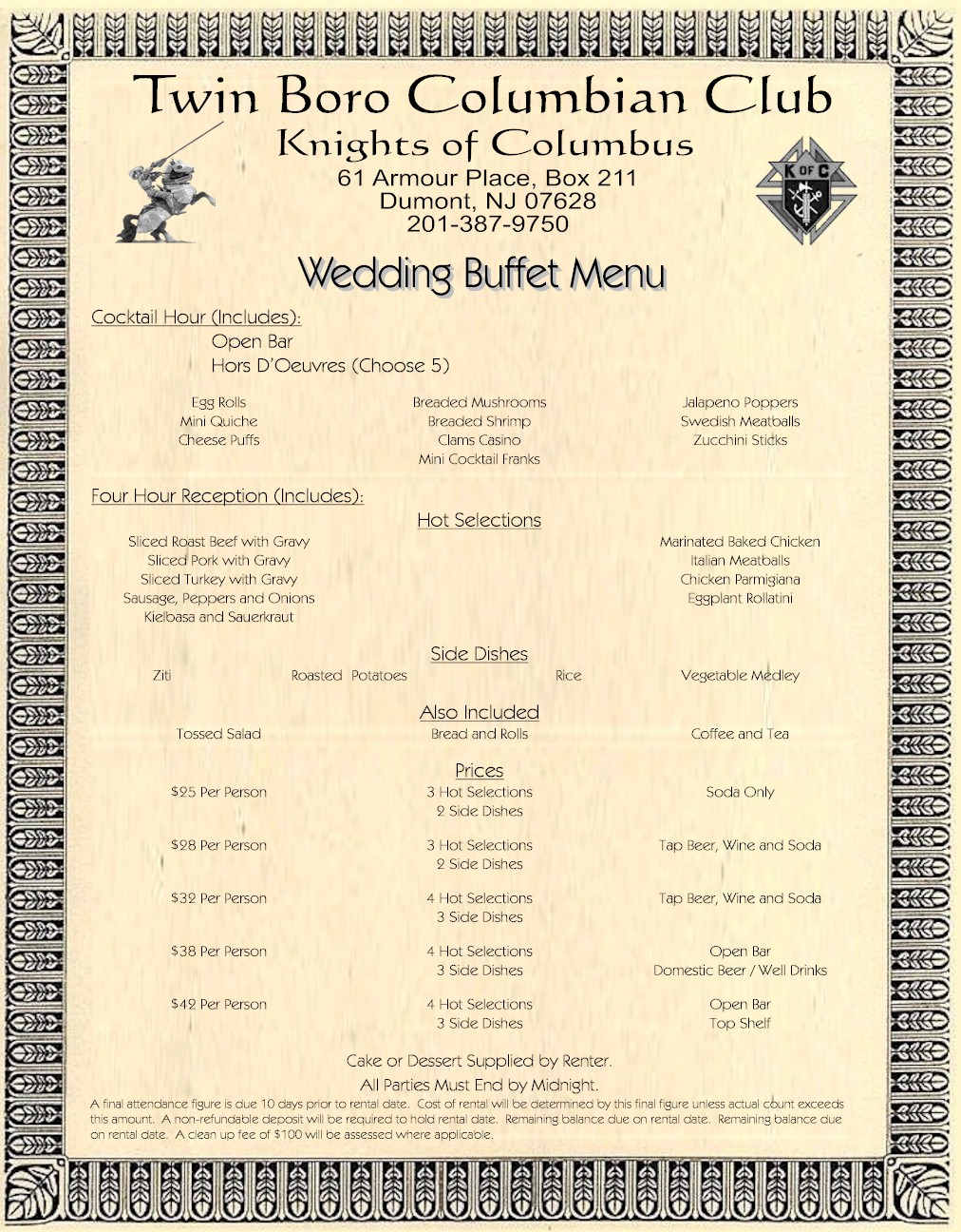 Wedding buffet menu at a medieval style restaurant